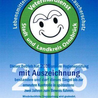Wir besitzen das Gütesiegel des Veterinärdienstes Stadt und Land Osnabrück.